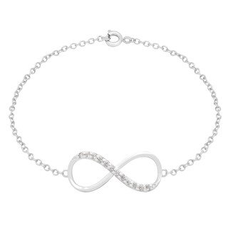 Dolce Giavonna Silverplated Cubic Zirconia Sidways Infinity Bracelet