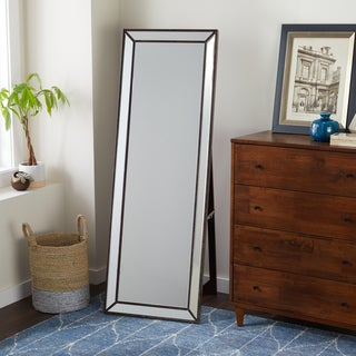 Abbyson Cosmo Nailhead Trim Floor Mirror   Silver