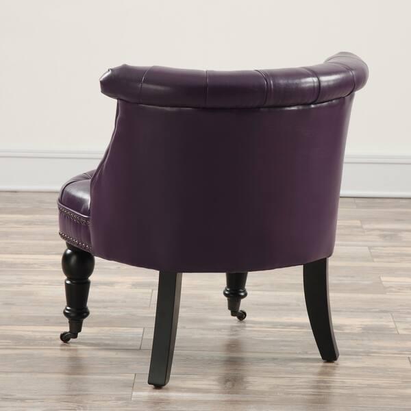 Admirable Shop Tulip Handmade Eggplant Tufted Leather Chair Free Evergreenethics Interior Chair Design Evergreenethicsorg