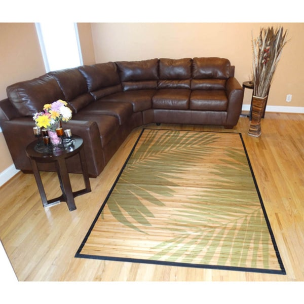 Hand-woven Palm Leaves Rayon from Bamboo Rug (6' x 9') - 6' x 9'