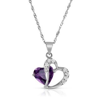 Created Amethyst 9.25 Sterling Silver Cubic Zirconia Heart Shape Necklace