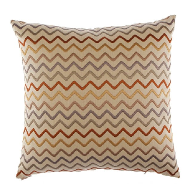 Zigzag Decorative 24-inch Feather Filled Throw Pillow (Zig Zag Decorative Throw Pillow)