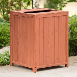 Eco-friendly Wooden Patio Trash Receptacle