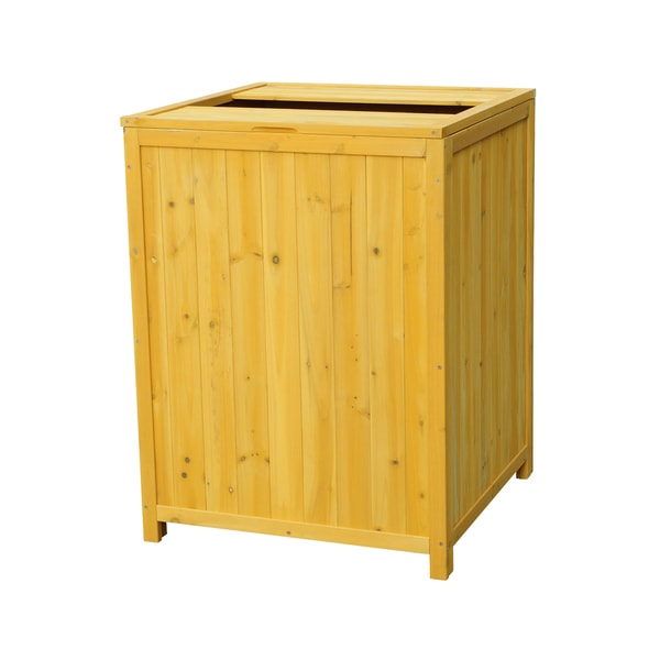 Eco Friendly Wooden Patio Trash Receptacle Free Shipping