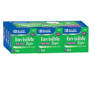 Bazic .75-inch x 27.8-yards Invisible Tape Refill (Pack of 12)