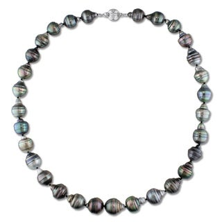 Miadora 14k White Gold Tahitian Pearl Necklace (10-11 mm)