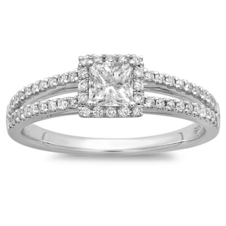 Azaro 14k White Gold 5/8ct TDW Princess-cut Diamond Engagement Ring