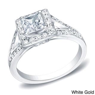 Auriya 14k Gold 1 1/4ct TDW Certified Princess-Cut Diamond Engagement Ring