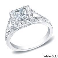 Auriya 14k Gold 1 1/4ct TDW Certified Princess-Cut Diamond Halo Engagement Ring