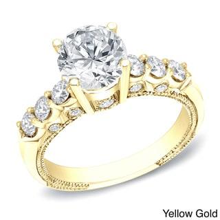 Auriya 14k Gold 1 1/2ct TDW Certified Round Cut Diamond Bridal Ring (H-I, SI1-SI2)