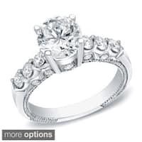 Auriya 14k Gold Vintage Inspired 1 1/2ct TDW Certified Round Diamond Engagement Ring