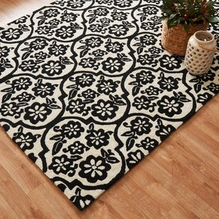 Hand-hooked Indoor/ Outdoor Capri Ivory/ Black Rug (9'3 x 13'0)