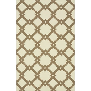 Hand-hooked Indoor/ Outdoor Capri Ivory/ Taupe Rug (9'3 x 13'0)