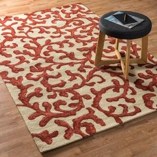 """Hand-hooked Indoor/ Outdoor Capri Ivory/ Coral Design Rug - 5' x 7'6"""""""