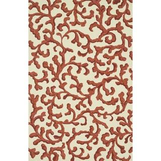 Hand-hooked Indoor/ Outdoor Capri Ivory/ Coral Rug (2'3 x 3'9)