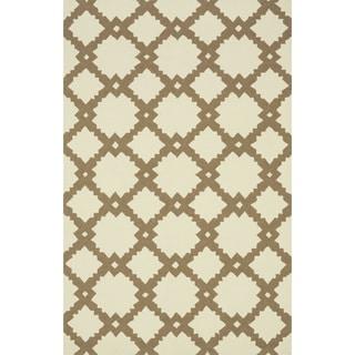 Hand-hooked Indoor/ Outdoor Capri Ivory/ Taupe Rug (3'6 x 5'6)