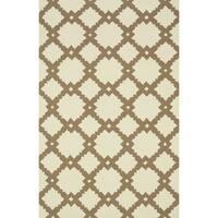 Hand-hooked Indoor/ Outdoor Capri Ivory/ Taupe Rug - 2'3 x 3'9