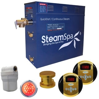 SteamSpa Royal 4.5kw Steam Generator Package in Polished Brass