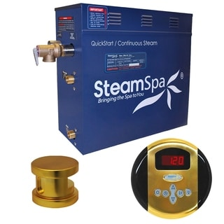 SteamSpa Oasis 6kw Steam Generator Package in Polished Brass