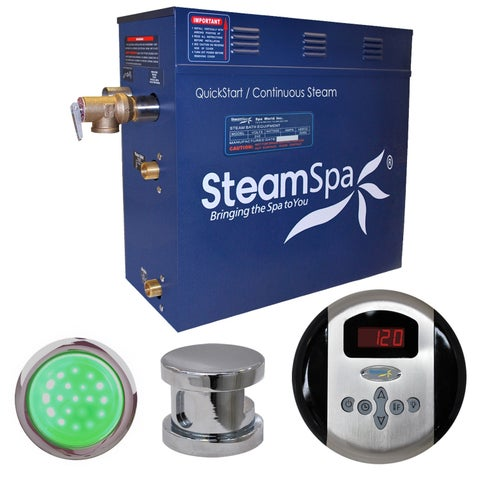 SteamSpa Indulgence 6kw Steam Generator Package in Chrome