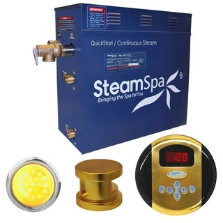 SteamSpa Indulgence 9kw Steam Generator Package in Polished Brass