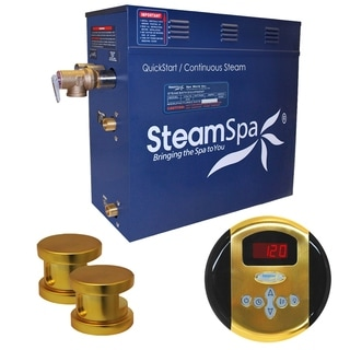 SteamSpa Oasis 10.5kw Steam Generator Package in Polished Brass