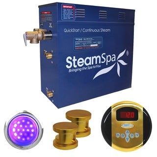 SteamSpa Indulgence 12kw Steam Generator Package in Polished Brass