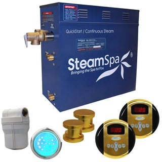 SteamSpa Royal 12kw Steam Generator Package in Polished Brass