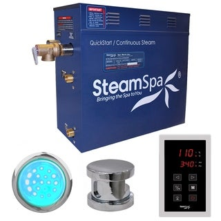 SteamSpa Indulgence 4.5kw Touch Pad Steam Generator Package in Chrome