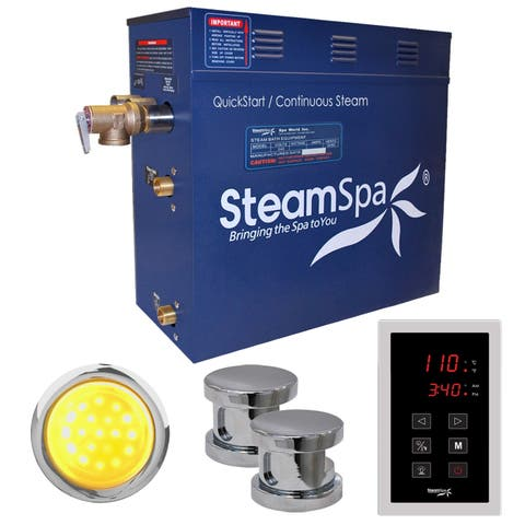 SteamSpa Indulgence 12kw Touch Pad Steam Generator Package in Chrome