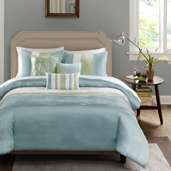 Shop Madison Park Chester Green Blue 6 Piece Duvet Cover