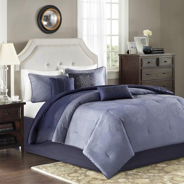 Madison Park 'Griffith' Blue Jacquard 7-piece Comforter Set