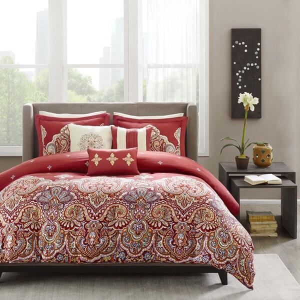 Madison Park 'Ralston' Red Jacquard Cotton 6-piece Duvet Cover Set