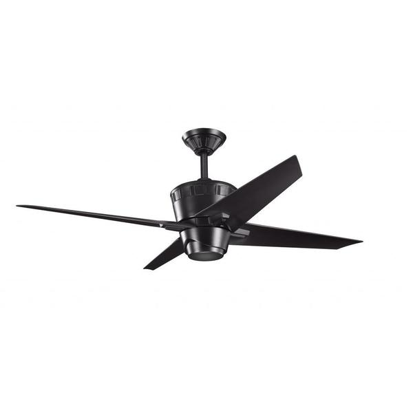Contemporary Satin Black Ceiling Fan And Light Kit