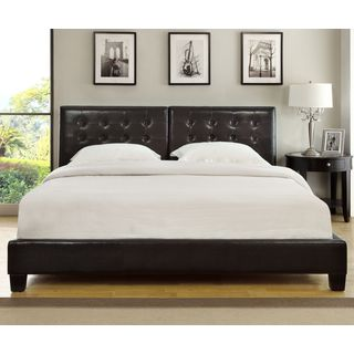 Chocolate Upholstered Button-tufted Platform Bed