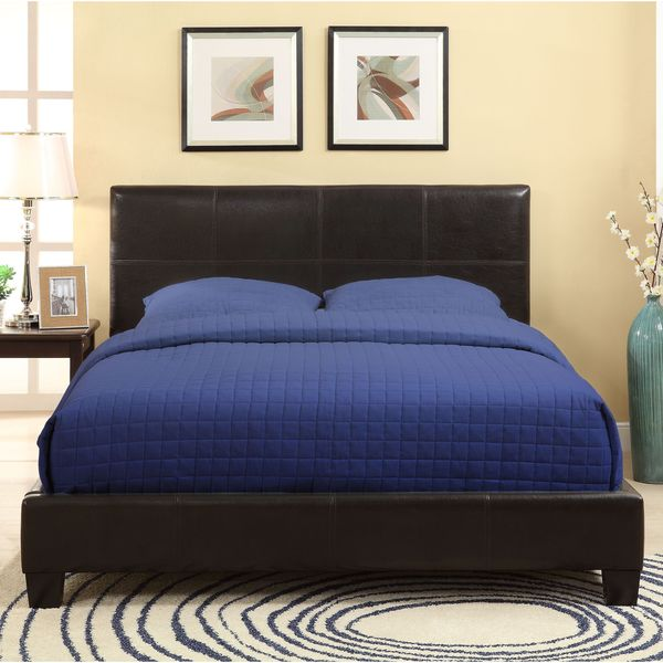 Square Platform Synthetic Leather Upholstery Bed Frame