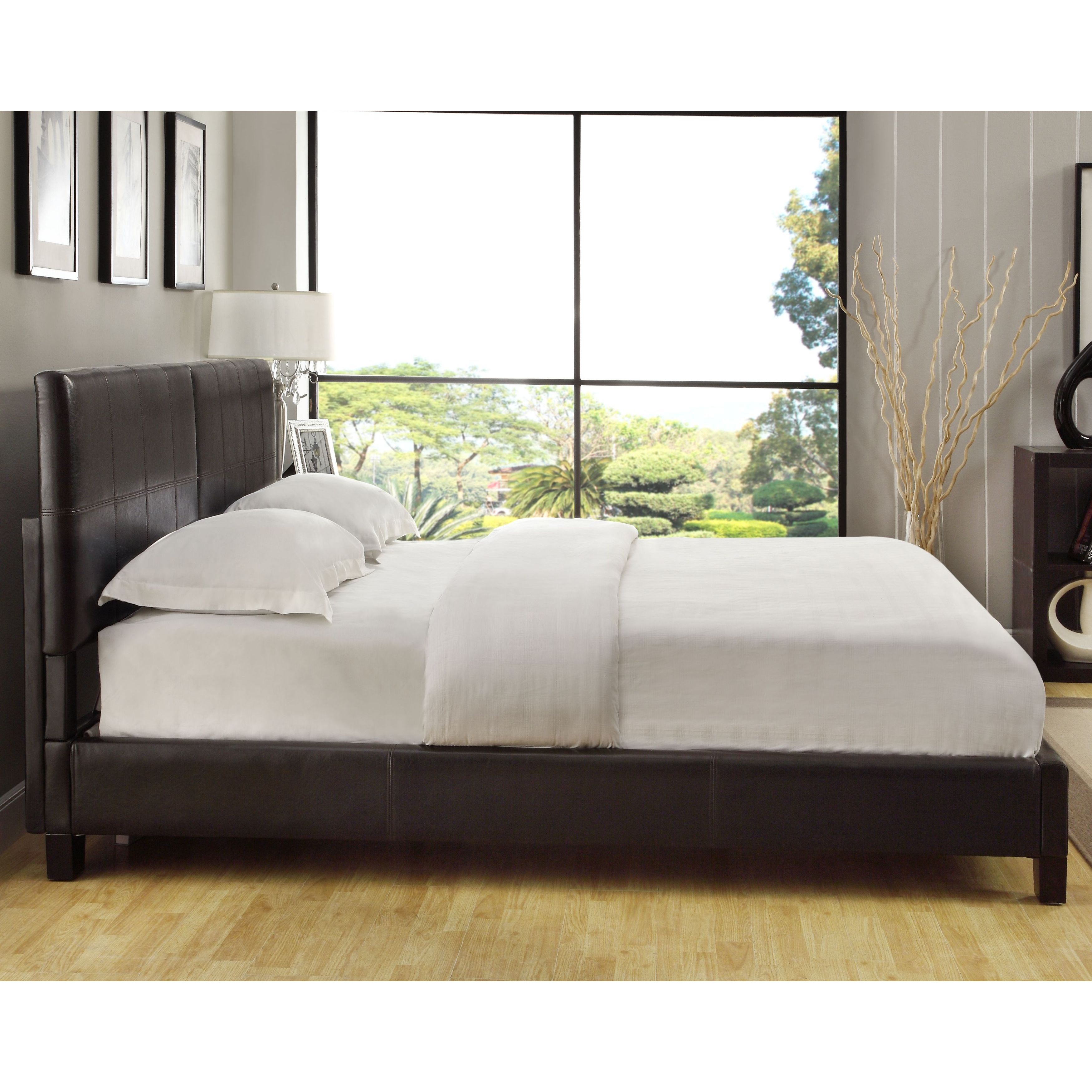 Square Platform King Or Cal Synthetic Leather Upholstery Bed Frame