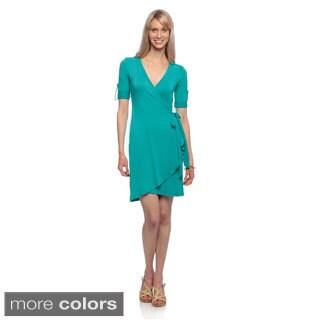 Amelia Women's Short-sleeve Mock Wrap Knit Dress