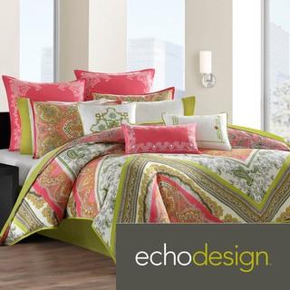 Echo Design Gramercy Pink/Green Paisley Print Cotton 3-piece Comforter Set
