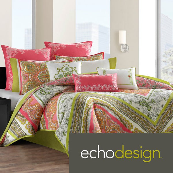 Echo Design Gramercy Pink/Green Paisley Print Cotton 3-piece Comforter Set
