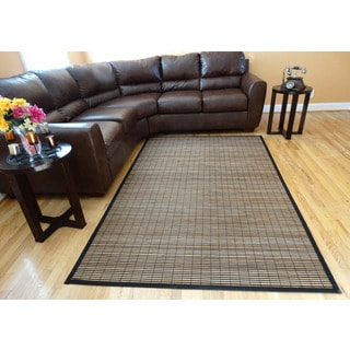 Hand-woven Beige Stripe Flatweave Rayon from Bamboo Rug (6' x 9')