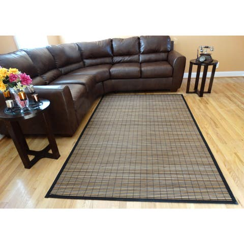 Hand-woven Beige Stripe Flatweave Rayon from Bamboo Rug (5' x 8')
