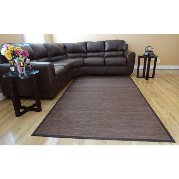 Hand-woven Brown Flatweave Rayon from Bamboo Rug (6'x9')