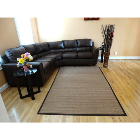 Hand-woven Beige Flatweave Rayon from Bamboo Rug (6' x 9') - 6' x 9'