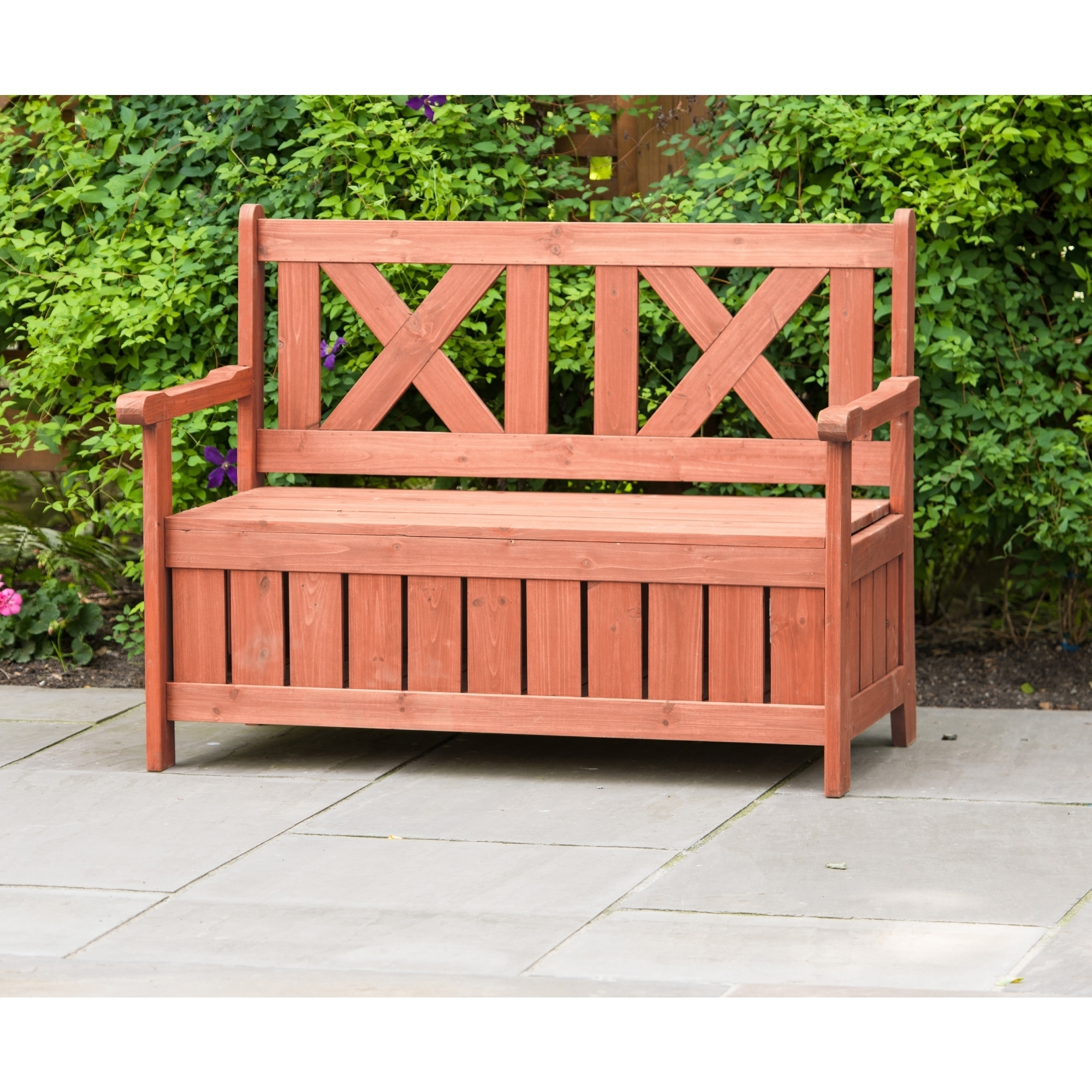 Leisure Season Leisure Brown Wooden Outdoor Storage Bench...