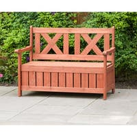 Brown Wooden Outdoor Storage Bench