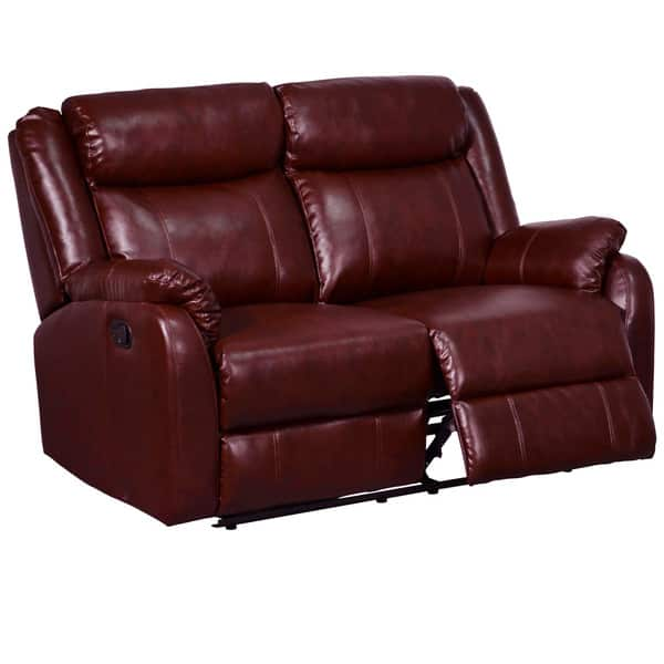 Burgundy Leatherette Reclining Loveseat