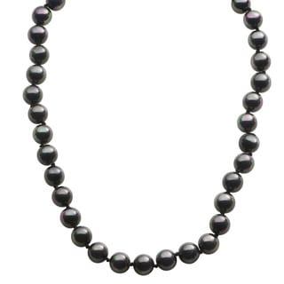 Pearls For You Sterling Silver Black Shell Pearl Necklace (10 mm)