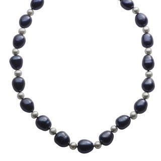 Pearls For You Sterling Silver Dyed Black and Grey Freshwater Baroque Pearl Strand Necklace (10.5-11 mm, 6-6.5 mm)