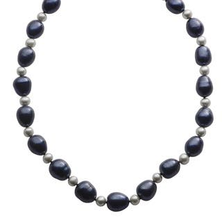Pearls For You Sterling Silver Dyed Black and Grey Freshwater Baroque Pearl Strand Necklace (10.5-11 mm, 6-6.5 mm) https://ak1.ostkcdn.com/images/products/8947683/P16159879.jpg?impolicy=medium